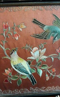 ANTIQUE CHINESE EMBROIDERED SILK PANELS SET OF FOUR QUALITY PIECES.