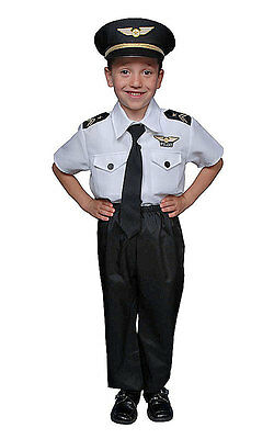 BUY KIDS CHILDRENS BOYS CHILDS DELUXE AIRLINE PILOT BOY OUTFIT COSTUME AGE 4-14