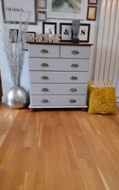 Beautiful Refurbished Vintage Style Dove Grey Dresser Chest of Drawers