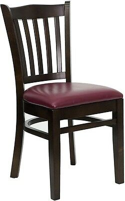 Walnut Wood Finished Vertical Slat Back Restaurant Chair W Burgundy Vinyl Seat