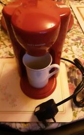 COFFEE ESPRESSO MINI, FOR REAL COFFEE WITH MUG, RED, SMOKE FREE HOME