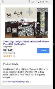 SWEET JOJO DESIGNS BLACK AND WHITE ISABELLA CRIB BEDDING COLLECT