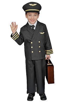 Kids Airline Pilot Kostüme (KIDS CHILDRENS BOYS CHILDS DELUXE AIRLINE PILOT BOY UNIFORM COSTUME AGE 4-14)