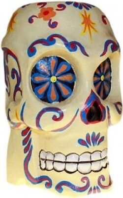 HALLOWEEN/PAGAN/ BALINESE/DAY OF DEAD wood  ARTY FLORAL PAINTED SKULL-21x12cm (Arti Halloween)