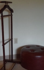 Vintage Solid Wood Wardrobe Valet Stand And Ottoman