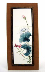 Japanese Floral Flower Artwork On Framed Ceramic Tiles Unique