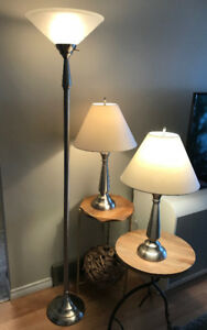 Set of three lamps two table ones one stand up