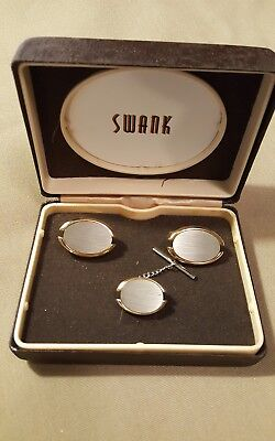 Vintage NOS SWANK Silver tone Gold tone Cuff links and Tie Tac Set Original Box