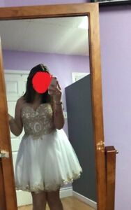 Grad dress.   Size 16 beaded champaign  paid over 400 worn once