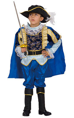 KIDS CHILDRENS CHILDS BOYS DELUXE BLUE MUSKETEER NOBLE KNIGHT COSTUME AGE 3-12](3 Musketeer Costume)
