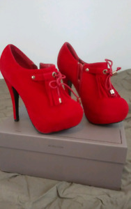 Cherry Red and Gold ankle boot