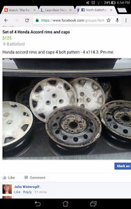 Set of four Honda Accord time and caps
