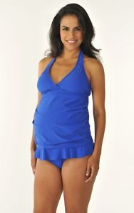 Medium Blue Ruched 2pc Maternity Swimsuit NEW with Tags