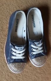 CONVERSE ALL STAR SHOES SIZE 4 DENIM BLUE WITH CRYSTAL TOES