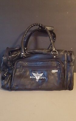 Bon Jovi   This House Is Not For Sale Tour Genuine Leather Duffel Bag  New Black