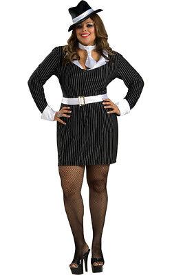 Gun Moll/ Lady Gangster Dress 4 Pc Blk/Wht - Lady Gangster