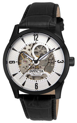 Invicta Objet D' Art 22639 Men's White Round Analog Automatic Leather Watch