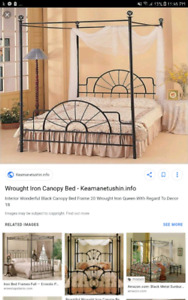 Canopy double bed frame
