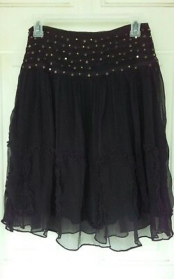 Womens Skirt Small Black Gypsy Boho Zoom in the Dance Costume Festival  (Women In The Gothic)
