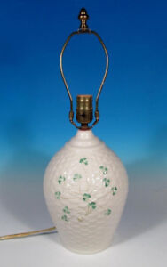 Belleek Pottery Ireland Shamrock Kylemore Basketweave Large Lamp