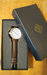 Defined Mens- New- Leather Strap Watch: 1/2 off cost!!