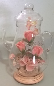 Vintage Blown Glass 10 inch Teapot & Wood Base  Centerpiece