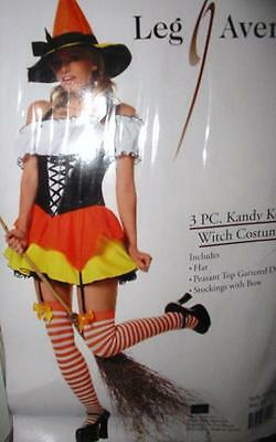 Candy Corn Witch Costume Corset Dress Hat Stockings Black Orange Yellow Medium - Corset Witch Costume
