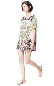 Cute-Europe-Fashion-Summer-Woman-Lady-Floral-Crew-Neck-Short-Sleeve-Dress-SZ-S