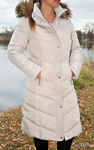 Calvin-Klein-coat-Faux-Fur-Hooded-Puffer-Flax-Down-Jacket-Maxi-Coat-NWT