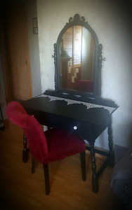 Antique Painted Vanity Desk & Chair