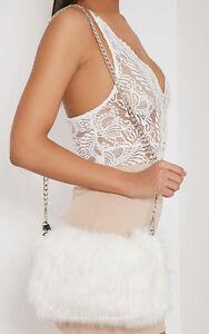 White faux fur bag