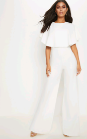 Pretty Little Thing White Cape Jumpsuit