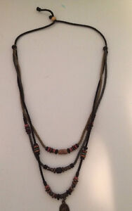 Unisex Brown Braided Rope Necklace Chain with Pendulum