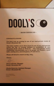 Dooly's Semi-Private room (3 hours)