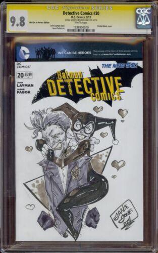 Detective Comics #20 CGC 9.8 Original Harley Quinn & Joker Sketch by Jamie Jones