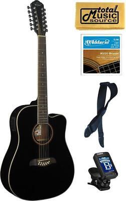 Oscar Schmidt 12 String Acoustic/Electric Guitar Bundle Black, OD312CEB PACK ()