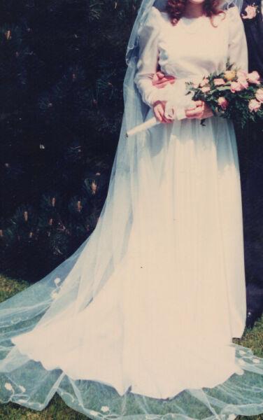 Vintage / retro white satin long sleeve wedding dress, sz 12-14