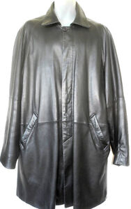 MENS XL 46T 48T // DANIER LEATHER CAR COAT JACKET BLACK OAKVILLE // MANS OUTERWEAR
