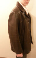Men's Brown Leather Coat - XL- The Olde Hyde House - New!