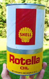 Vintage 1970's Shell Canada Limited Rotella Oil Imp. Qt. Can