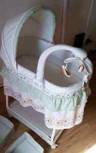 Beautiful white and green bassinet