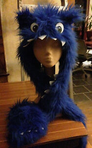 Monster hooded scarf blue plush fur Cookie Monster costume hat