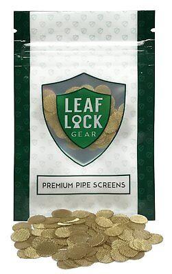 (100 Leaf Lock Gear Premium Brass Tobacco Pipe Screen Filters - 3/8