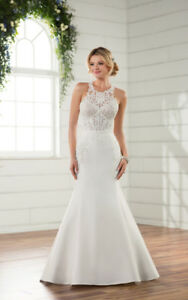 Essense of Australia Modern Lace Wedding Gown