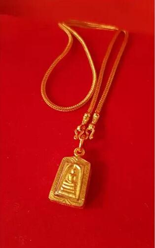 Phra Somdej Necklace Gold Plated Micron Pendant Wat Rakang Thai Buddha Amulet