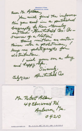 SIGNED ARCHIBALD COX AUTOGRAPHED HAND WRITTEN LETTER - WATERGATE