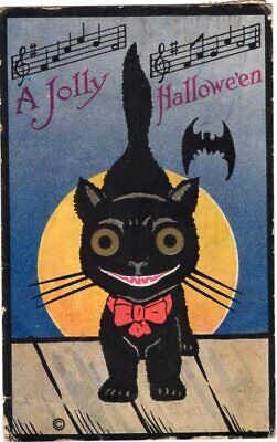 HALLOWEEN POSTCARD, H. M. ROSE - BLACK CAT WITH RED BOW WITH BAT AND MOON.