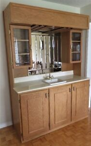 Wet Bar Oak With Sink Marble Counter Glass Cabinet Mirror Light