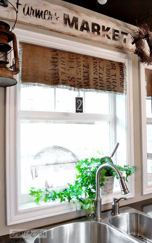 Create burlap bean bag faux shades / part of 5 beautifully unique window treatments you can make yourself, by Funky Junk