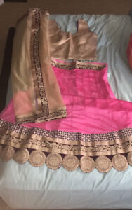 Unstitched Indian Lengha w/ Blouse and Dupatta